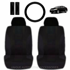 NEW BLACK DOUBLE STICH FRONT LOW BACK SEAT COVERS & STEERING SET FOR CARS 2022