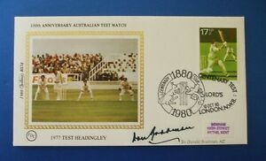 BENHAM 1980 CENTENARY TEST v AUSTRALIA COVER SIGNED BY SIR DONALD BRADMAN