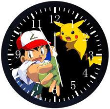 Pokemon Pikachu Ash Black Frame Wall Clock Nice For Decor or Gifts Z87