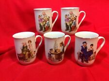 Lot of Five Norman Rockwell Inspired Coffee Mugs, 4 different scenes 1986 Museum