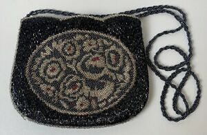 Vintage Clutch/Crossbody Purse La Regale Black Multi Color Beaded Evening Bag