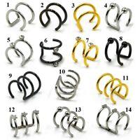 Hoop Ear Cuff Clip On Earring Tragus Cartilage Non Piercing Closure Rings Fake