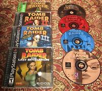 Tomb Raider I II III Last Revelation 1 2, 3 PS1 Playstation Lot of 4 Games Set