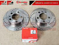 FOR HONDA CIVIC 2.0 TYPE R EP3 REAR BREMBO BRAKE PADS DRILLED GROOVED DISCS