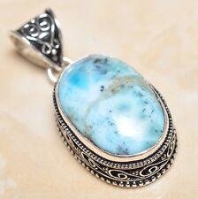 "Handmade Pale Blue Caribbean Larimar 925 Sterling Silver 1.75"" Pendant #P07116"