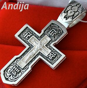 OLD STYLE MENS RUSSIAN ORTHODOX ICON BODY CROSS PENDANT, SILVER 925 NEW. BLESSED