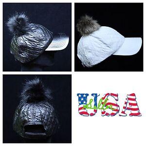 Baseball Cap Pom Pom Fur Vintage Hat Snapback Hats Unisex Caps Black White