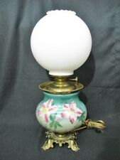 """Antique GONE WITH THE WIND Green/Pink LILY Electrified Kerosene Oil Lamp, 23"""""""