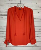 Ann Taylor Women's S Small Coral Long Sleeve Cute Winter Spring Blouse Top Shirt
