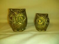 Vintage Solid Brass Owl Figurines Taiwan Patina Decor Desk Home Paperweight