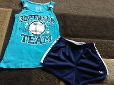 Girls Justice Sequence softball ribbed tank shorts outfit size 8/10(Euc)