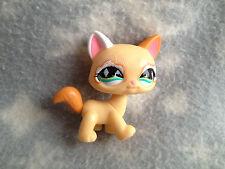 Littlest Pet Shop #626 yellow orange white sparkle glitter cat with green eyes