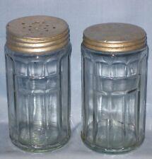 VTG Lot 2 Original Hoosier Clear Glass Ribbed Salt Spice Shaker Jar Label!