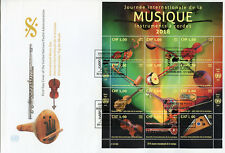 United Nations UN Geneva 2018 FDC Intl Music Day 12v M/S Instruments Stamps