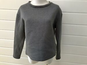 NEW LOOK Womens Grey Scuba Long Sleeve Cropped Top - Size 10