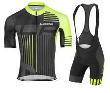 Bnwt LONG AO Men's Short Sleeves Cycling Jersey with Bib Shorts - Black/Yellow -