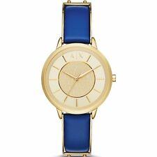 ARMANI EXCHANGE Olivia AX5312 Ladies Blue Leather Strap Watch -- 2 YRS WARRANTY