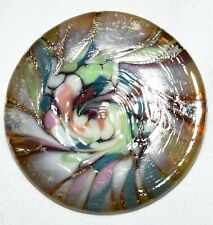 Swirled Thick Glass Round Pin Art Glass Hand Made Multi Colored