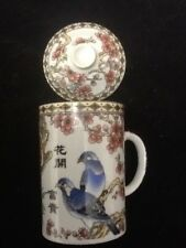 Chinese Porcelain Tea Cup Handled Infuser Strainer w Lid 10 oz Beautiful Birds!!