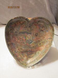 Vintage Heart Shape Lucite Candy Dish w/Lincoln. Cleveland & Pierce w/Cigar Band