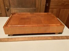 New listing Vintage footed Heavy Chop Butcher Block Cutting Board Wooden Collectible Kitchen