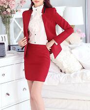 Elegante Tailleur completo donna rosso nero giacca manica lunga, gonna cod 7033