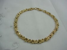 """14K GOLD NUGGET BRACELET 7.5"""" LONG WITH LOBSTER CLAW CLASP 9.7 GRAMS"""