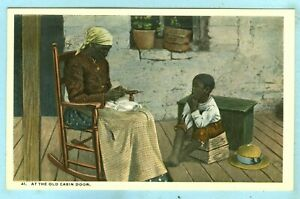 """Vintage, 41, """"At The Old Cabin Door"""", Lady in Rocking Chair with Her Son...."""