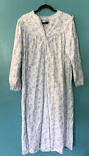 Womens Lanz of Salzburg Nightgown sz L Blue Floral Flannel Cotton Granny Gown