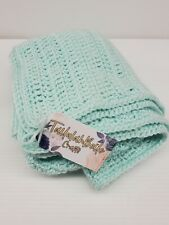 Handmade Crochet Knitted Baby Blanket Soft Comfy Wrap 100% Acrylic Soft Green