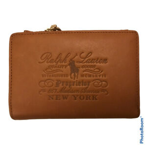 Ralph Lauren Small Tan Embossed Equestrian Leather Purse Wallet