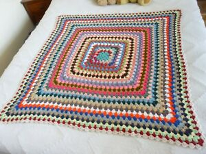 Colourful Rainbow Crochet Vintage Style Granny Bed Cover Blanket Throw