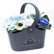 Blue Soap Flower Baskets / Gift / Fast Free delivery UK Seller / 18 cm Handmade