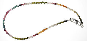 """925 Sterling Silver Multi Tourmaline Stone 3-3.5 mm Beads 12-40"""" Strand Necklace"""
