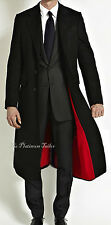Mens Black Wool Long Covert Overcoat Warm Winter Mod Cromby Coat Velvet Collar