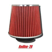 "Red Universal Round Cone Cold Air Filter Replacement (3.5"" / 89 mm) Inlet"