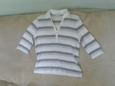 Womens Size 16 - White/Grey/Pink Stripe 3/4 Sleeve Top - M&S