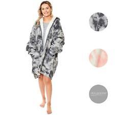 Dreamscene Oversized Sherpa Tie Dye Hoodie Zip Up Womens Sweatshirt Cardigan UK