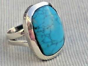 STERLING SILVER 25mm.RING with a TURQUOISE CABOCHON STONE UK size M £29.95 NWT