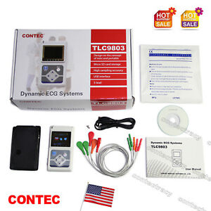 US FDA 3 Channel ECG Holter 24 Hours Dynamic EKG Holter Portable ECG Monitor+SW