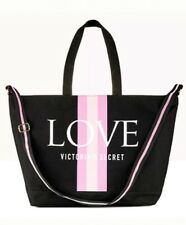 Victoria's Secret VS LOVE Black Pink Logo Stripe Large Weekender Tote Bag NEW