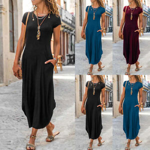 ⭐⭐⭐⭐⭐Womens Summer Pockets Casual T Shirt Dress Short Sleeve Loose Midi Sundress