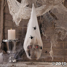 HALLOWEEN Haunted House Decoration Prop SKULL in SPIDER COCOON Light Up Eyes