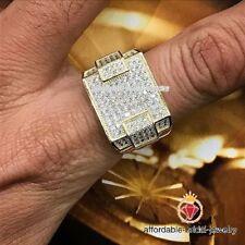 Finish Round Cut Pave Fashion Ring 2.50Ct Diamond Wedding Band Men's Yellow Gold