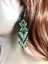 Black Green Seed Beaded Native American Style Earrings Handmade E17/50