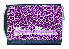 Viola Leopardo personalizzata Signore / RAGAZZE denim Borsellino / Mini Wallet-Named