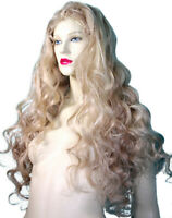 Silk Top Full Lace Wig Human Hair Remi Remy Blonde Mix Body Wave Soft  Long