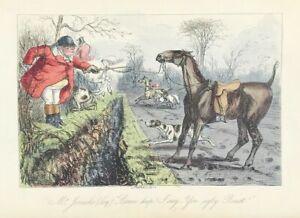 c1854 John Leech MR JORROCKS YOU UGLY BEAST original etched print hand coloured