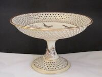 Antique Reticulated Porcelain Footed Compote .Makenhammt Austria .Birds Bees NR