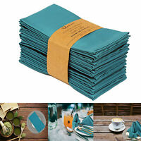 "12 Cotton Dinner Napkins Cloth Napkin Set Dining Table Accessories 18""x18"" Teal"